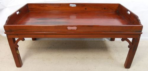 Large Tray Top Hardwood Coffee Table